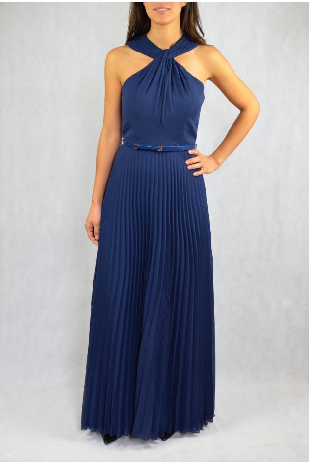 Robe longue bleue avec plis soleil