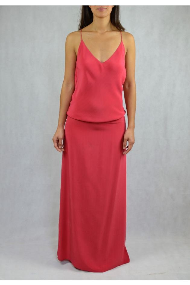 Robe longue avec fines bretelles rose framboise