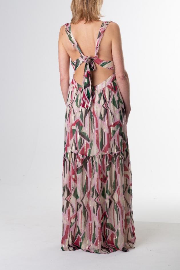 Robe longue à imprimé géométrique rose et vert avec lurex, modèle Betty