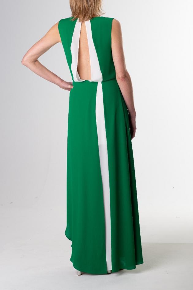 Robe longue verte et blanche