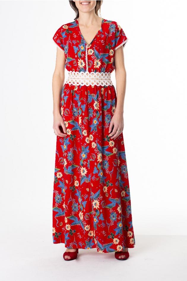 Robe longue rouge imprimée fleurs