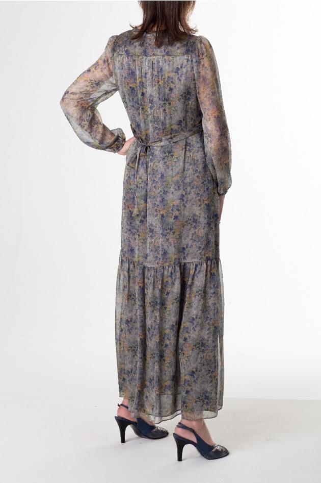 Robe longue imprimé fleurs dans les tons gris/bleus