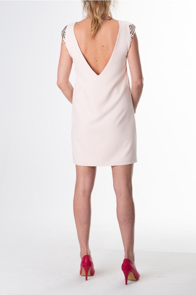 Robe courte rose poudrée manches à sequins modèle Etoile