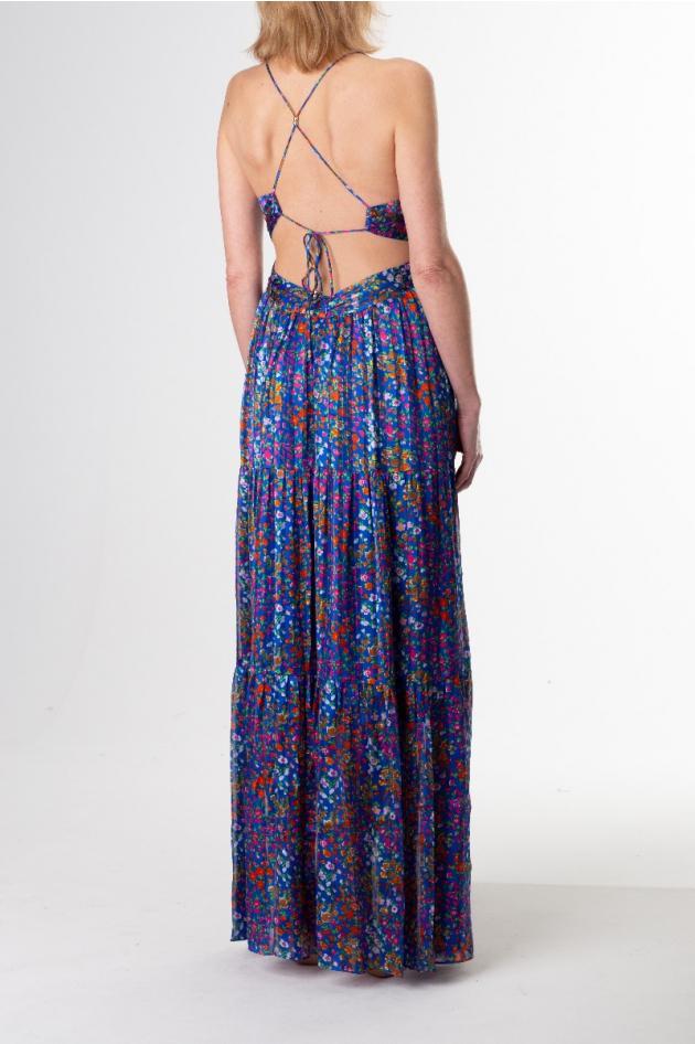 Robe longue bleue fleurie dos nu croisé, modèle Rosy