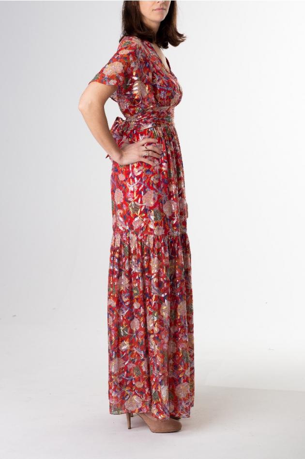 Robe longue rouge imprimé fleuri avec fils métallisés, modèle Jessy