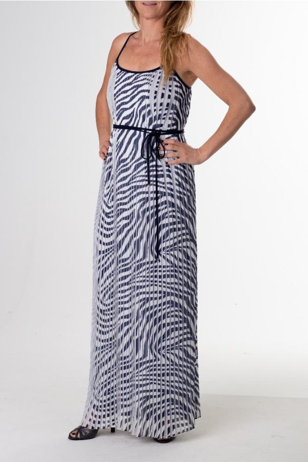 Robe longue, imprimé zébré blanc et bleu marine