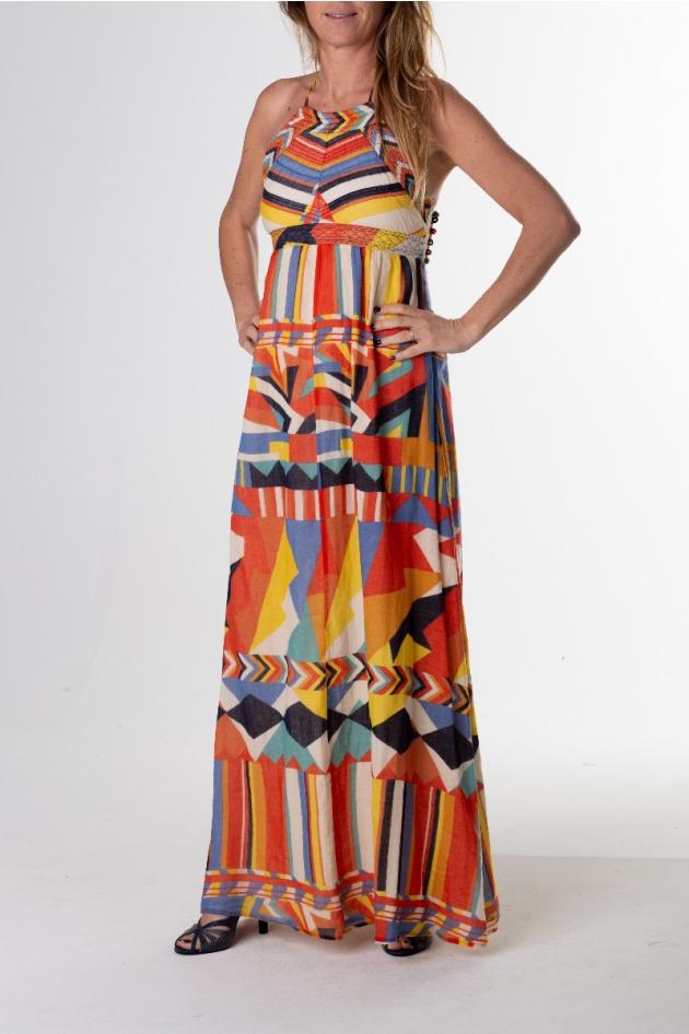 Robe longue imprimé ethnique, modèle Flash
