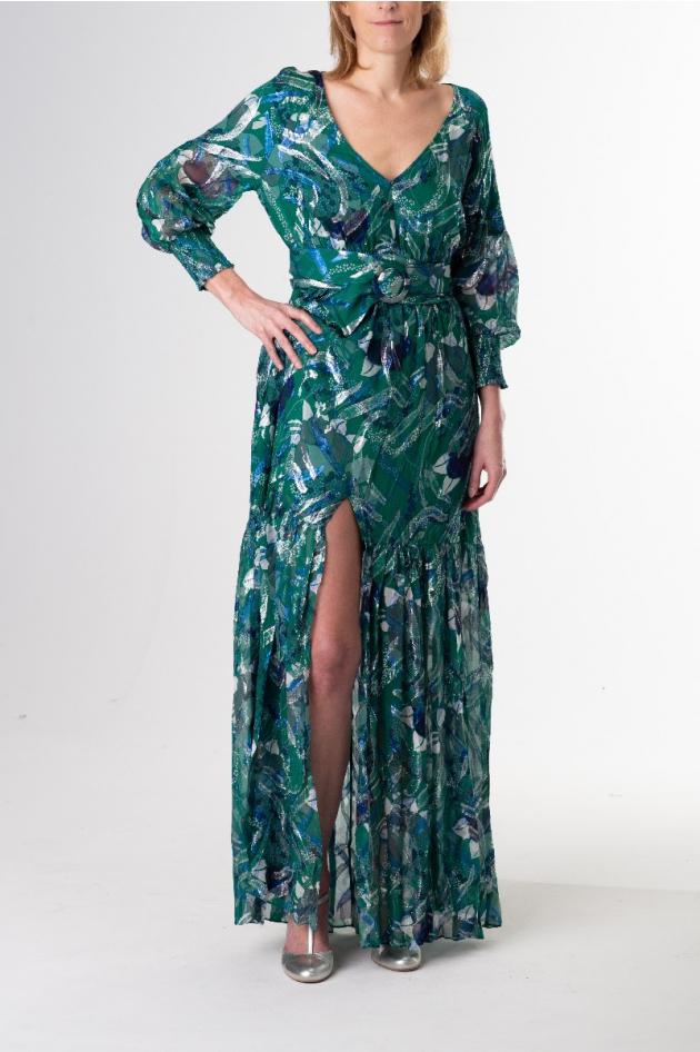 Robe longue fleurie verte et argentée manches longues, modèle Jasper