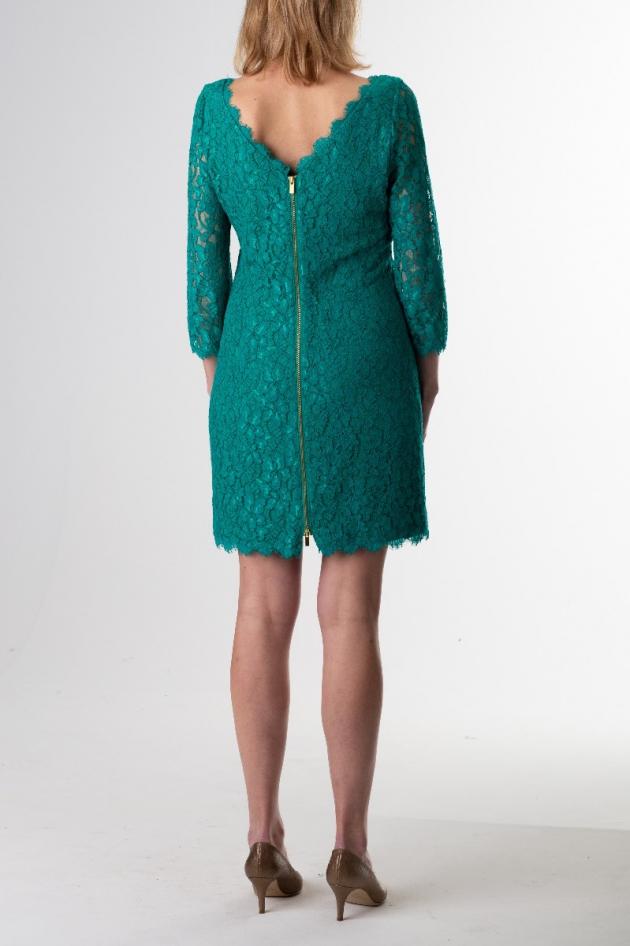 Robe courte verte turquoise en dentelle
