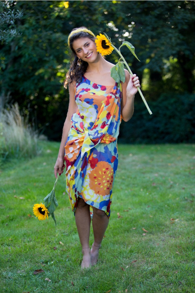 Robe midi multicolore